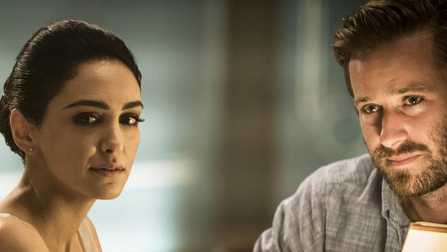 Armie Hammer and Nazanin Boniadi, who plays his wife, in Hotel Mumbai