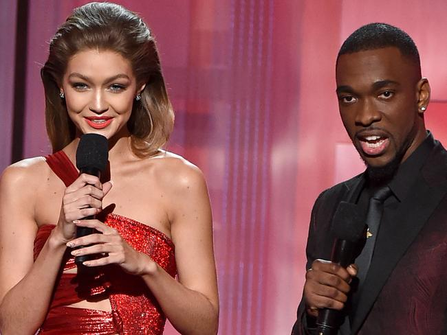 Co-hosts Gigi Hadid and Jay Pharoah. Picture: Getty Images