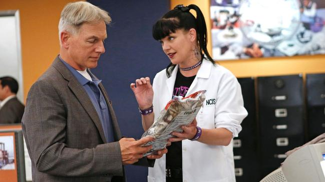 Mark Harmon (playing Special Agent Gibbs) and Perrette (Abby Sciuto) in a scene from the show. Picture: Supplied