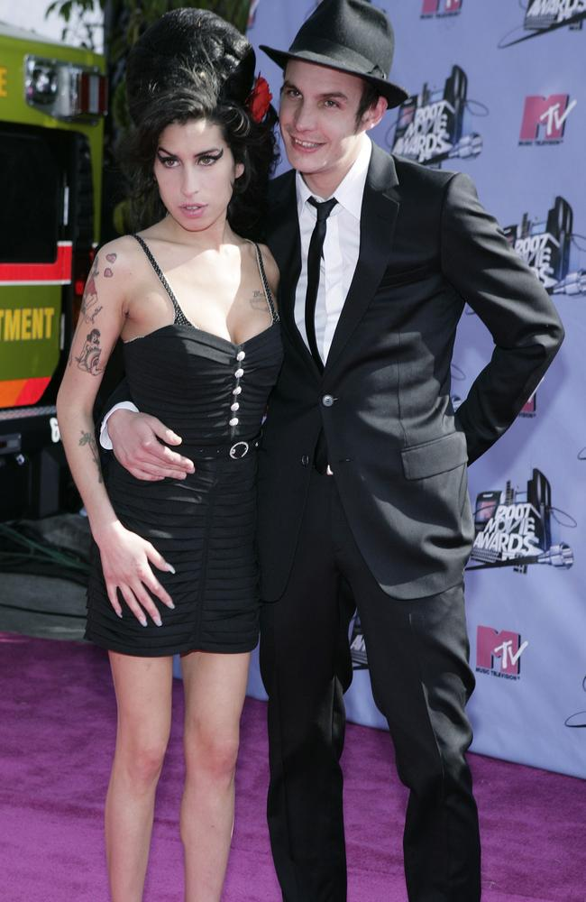Amy Winehouse with her husband Blake Fielder-Civil in 2007. The pair struggled with drug addiction. Picture: Supplied