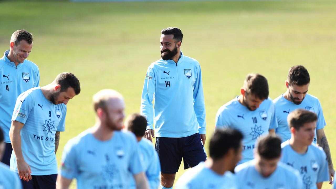 Alex Brosque during Sydney FC training before they head to Perth for the A-League Final.