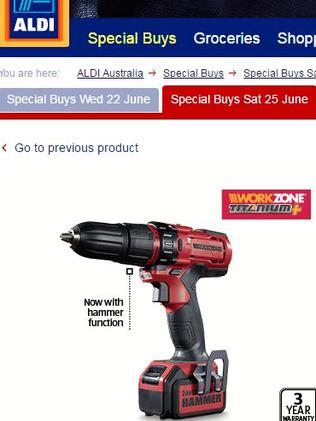Aldi's $89.99 Work Zone drill.