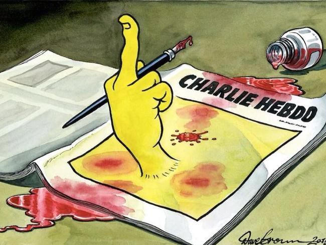 Tellnig the terrorists off ... cartoonists respond to the Charlie Hebdo Shooting. Dave Brown's cartoon.