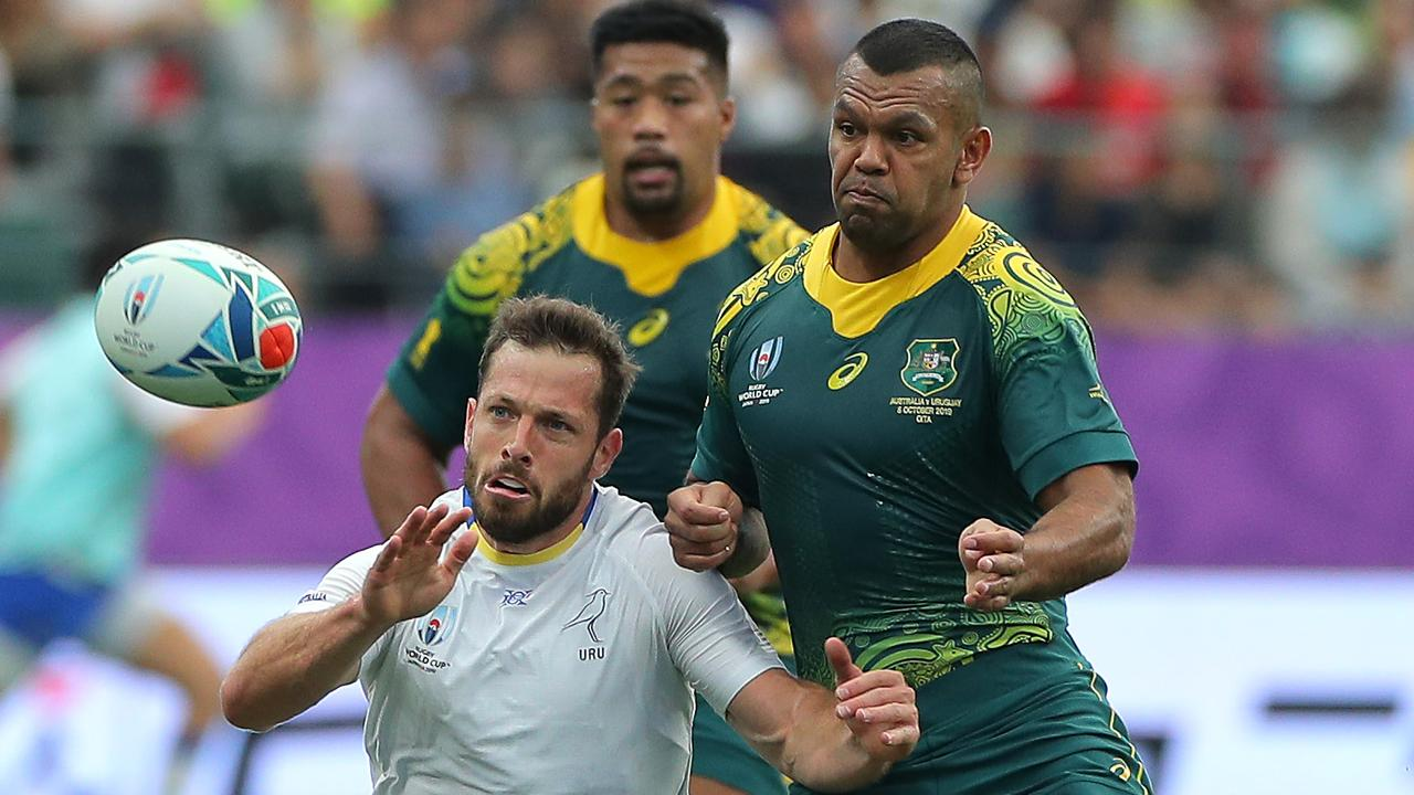 Wallabies fullback Kurtley Beale (right) says he'd love to see Australia host the 2027 Rugby World Cup. Picture: Getty Images