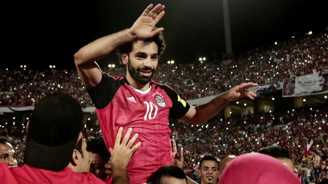 Egypt's Mohamed Salah celebrates. (AP Photo/Nariman El-Mofty)
