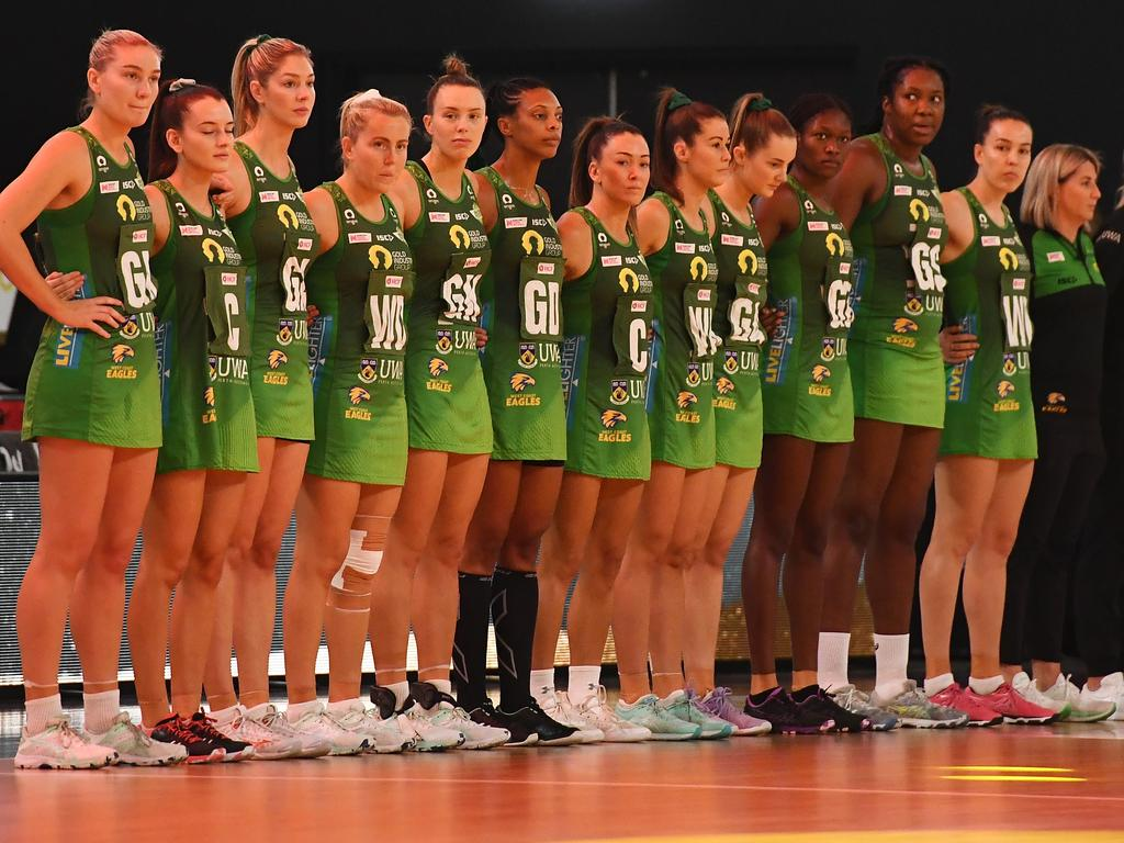 BRISBANE, AUSTRALIA - OCTOBER 18: The Fever team line-up ahead of the the 2020 Super Netball Grand Final match between the Melbourne Vixens and the West Coast Fever at Nissan Arena on October 18, 2020 in Brisbane, Australia. (Photo by Quinn Rooney/Getty Images)