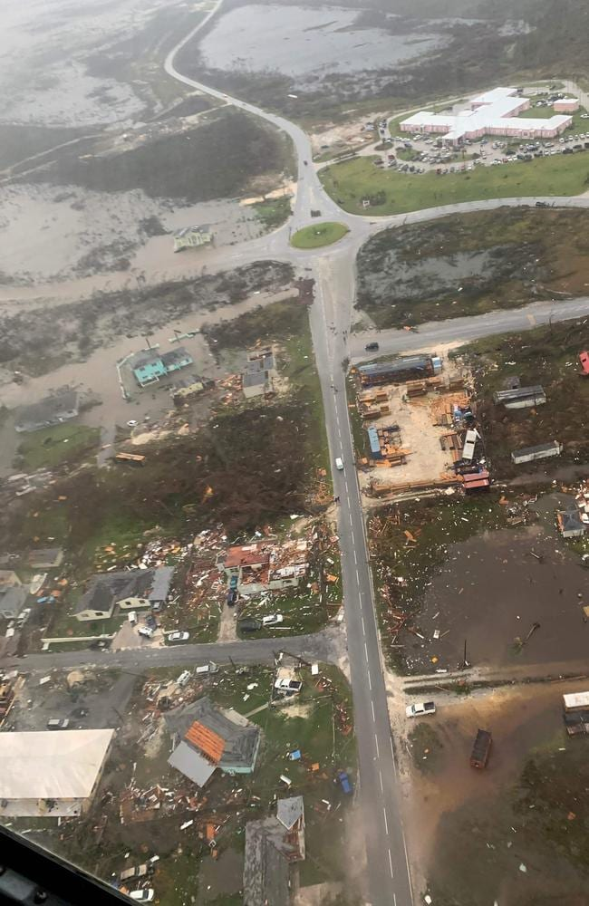 An aerial view shows the breadth of the destruction. Picture: AFP