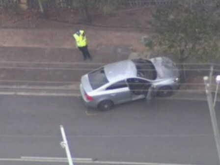 The allegedly stolen car that hit a Queensland police officer.
