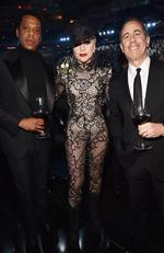 Jay Z, Lady Gaga and comedian Jerry Seinfeld attend the 60th Annual GRAMMY Awards at Madison Square Garden on January 28, 2018 in New York City. Picture: Getty