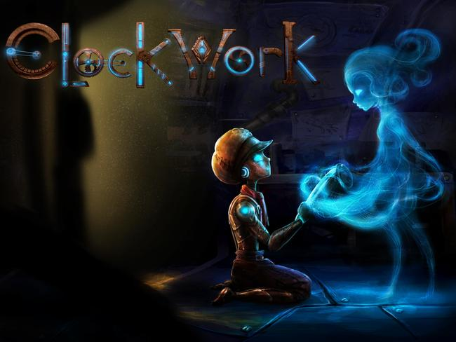 Atto, the main character of Australian-made steampunk platformer game Clockwork, holds hands with Milli, the time-spirit who lives inside his pocketwatch.