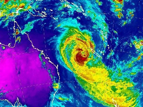 A Bureau of Meteorology radar image shows Cyclone Oma on Wednesday night on a path for southeast Queensland.