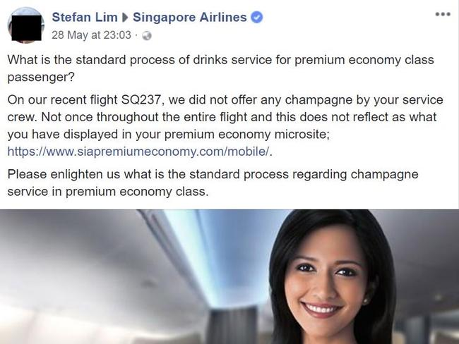 The Singapore Airlines complaint letter.