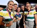 Athletes from Australia enter the stadium before the start of the closing ceremony of the XXI Commonwealth Games on the Gold Coast. (AAP Image/Darren England)
