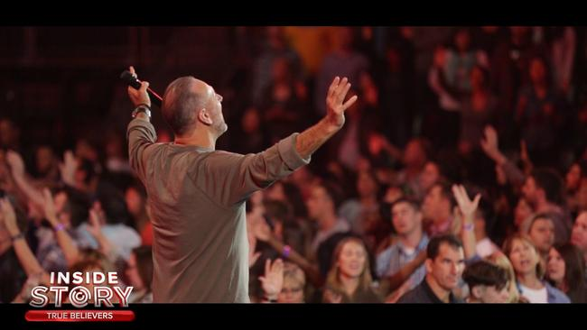 Brian Houston in action at Hillsong. Picture: Channel Nine