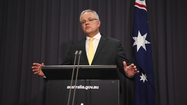 Prime Minister Scott Morrison announced a range of COVID-19 measures that are reshaping the housing market. Picture: Lukas Coch/Getty Images