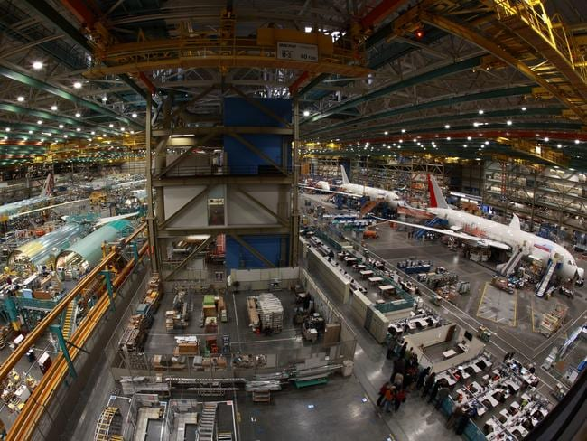 The 777 and 787 assembly line at the Boeing factory.