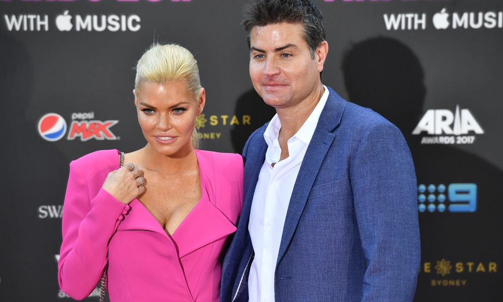 Sophie Monk and Stu Laundy arrive at the 31st ARIA Awards at The Star, in Sydney, Tuesday, November 28, 2017. (AAP Image/Joel Carrett) NO ARCHIVING