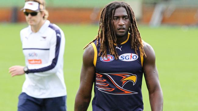 West Coast Eagles AFL player Nic Naitanui takes part in an open training session at Domain Stadium in Perth, Monday, September, 11, 2017. The West Coast Eagles will play Greater Western Sydney in the first semi finals on Saturday. (AAP Image/Richard Wainwright) NO ARCHIVING