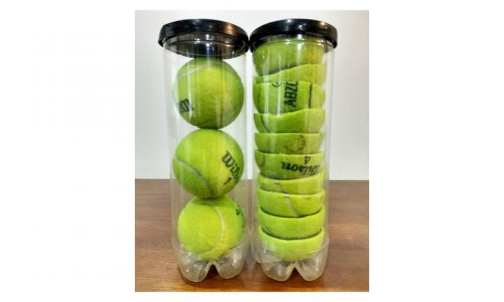8. CUT UP YOUR TENNIS BALLS TO FIT MORE IN  <p>Yeah, this kind of makes the balls redundant, but we like the idea behind it. Sort of. Kind of. Not really. </p>