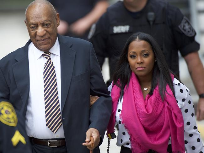 Bill Cosby arrives at court with actress Keshia Knight Pulliam, who played his youngest daughter, Rudy, on The Cosby Show. Picture: Getty