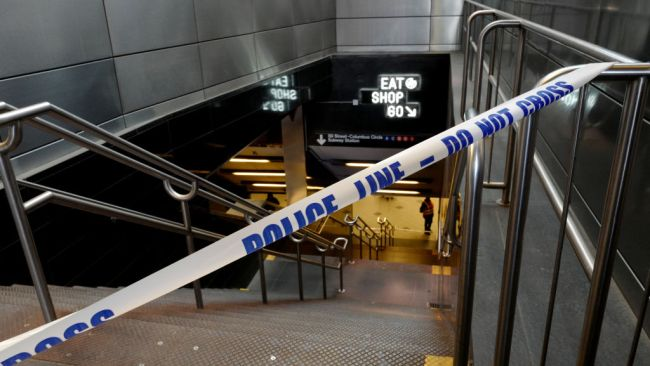 Police tape blocks the Columbus Circle subway exit outside of the Time Warner Center in New York, U.S., on Wednesday, Oct. 24, 2018. U.S. news media stepped up security measures on Wednesday after a suspicious package was found at CNN's New York offices. Source: Getty Images