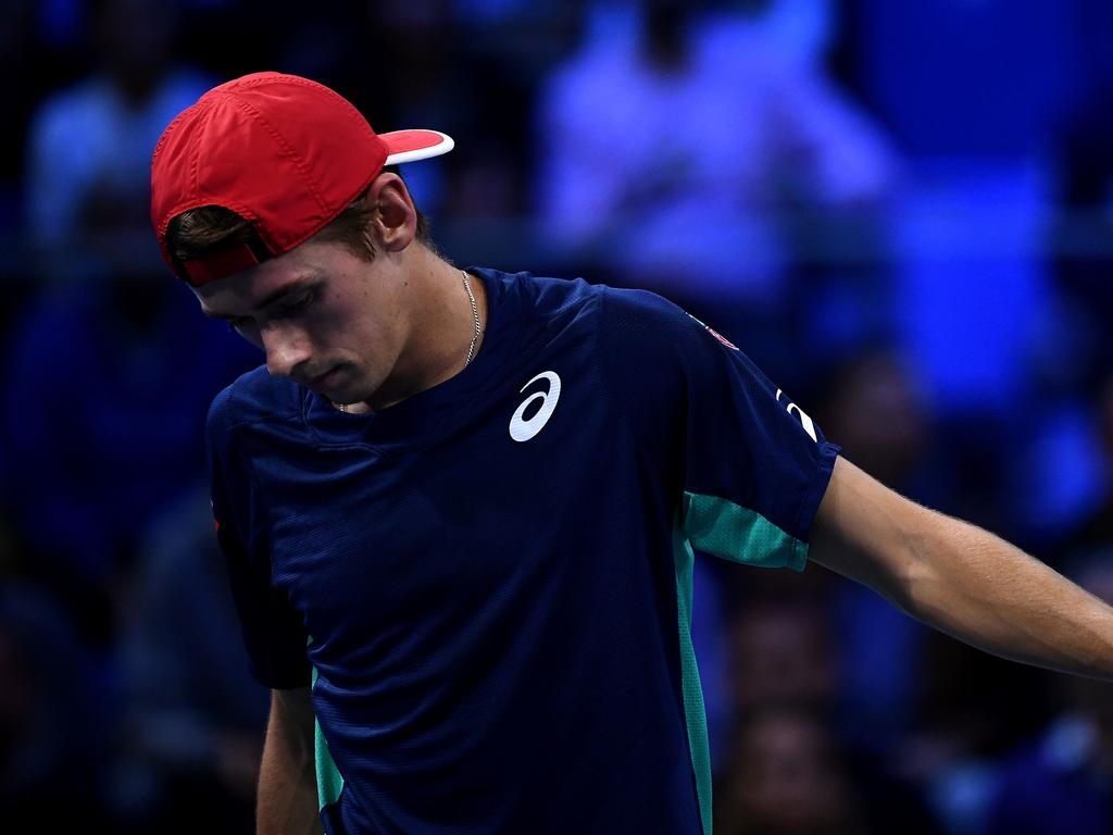 Australia's Alex De Minaur reacts during the final of the Next Generation ATP Finals against Italy's Jannik Sinner at the Allianz Cloud Court on November 9, 2019 in Milan. (Photo by MARCO BERTORELLO / AFP)