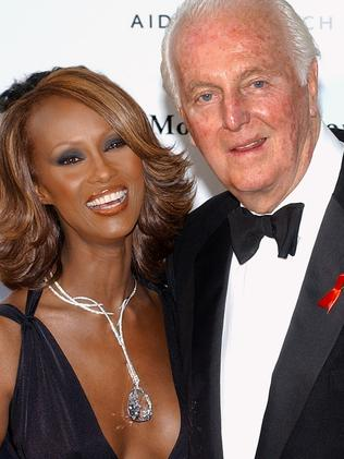 The designer with supermodel, Iman. Picture: AFP/Olivier Laban-Mattei