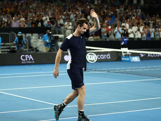 Andy Murray was given an emotional reception at Melbourne Park.