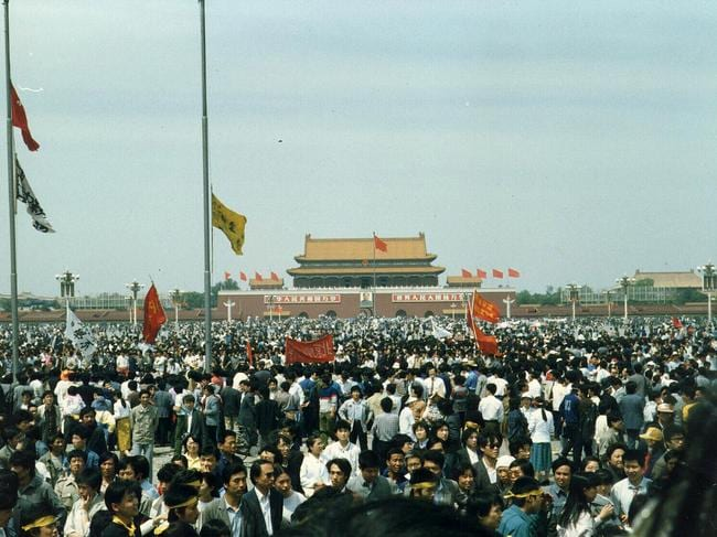 Crowds in Tiananmen Square during protests in 1989.