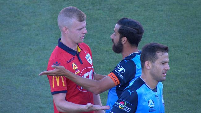 Alex Brosque's heated confrontation in the first half vs Adelaide.