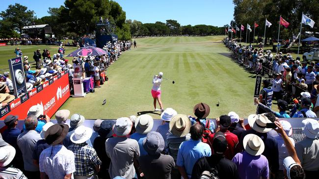 Karrie Webb hits of the first tee in front of a big crowd at Grange for the Women's Australian Open in 2016. Picture: Sarah Reed.