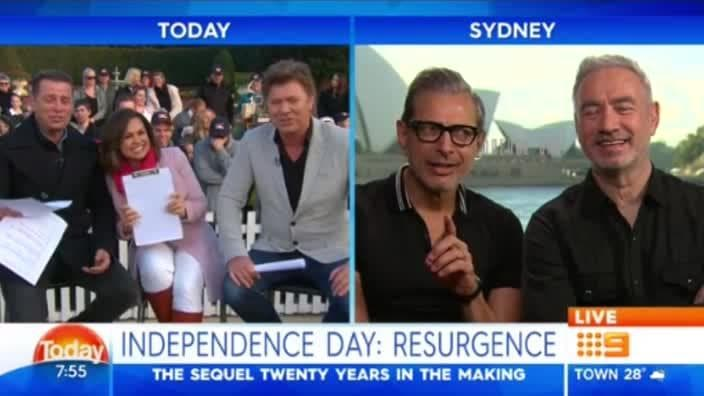 Dickie slips up and swears during interview with Jeff Goldblum