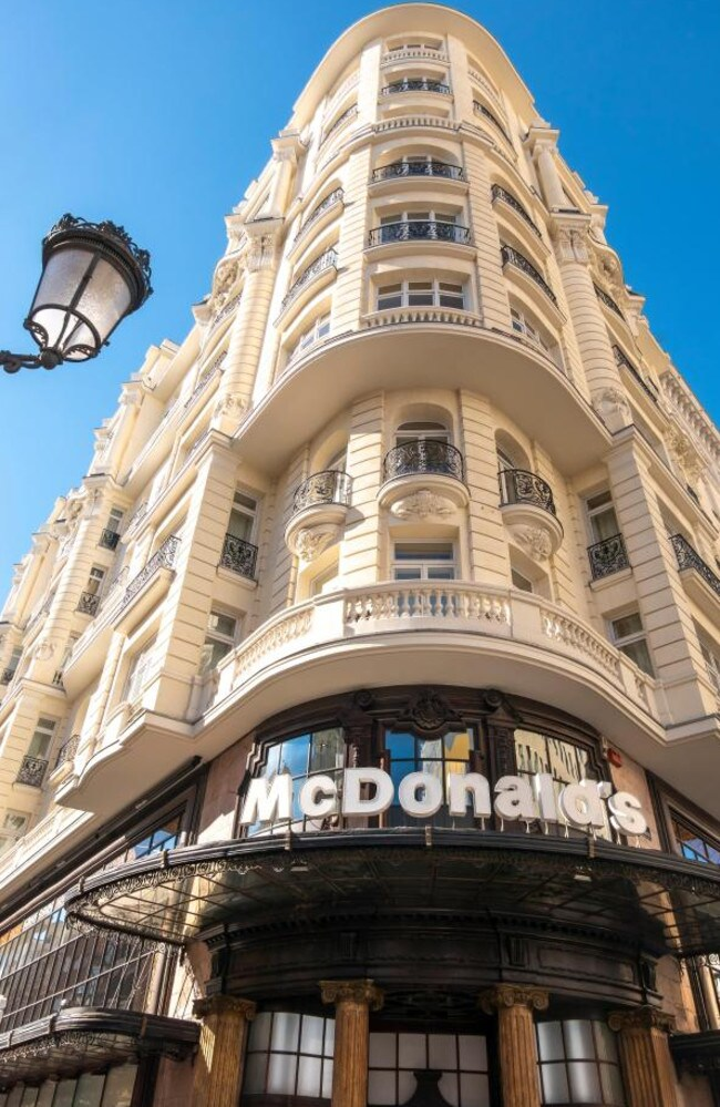 The McDonald's in Madrid features marble walls and chandeliers. Picture: Alamy
