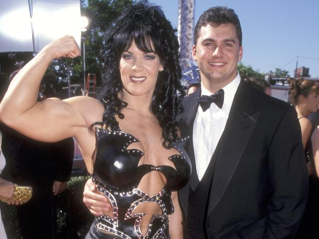 Joanie Laurer and Shane McMahon attend the 51st Emmy Awards.