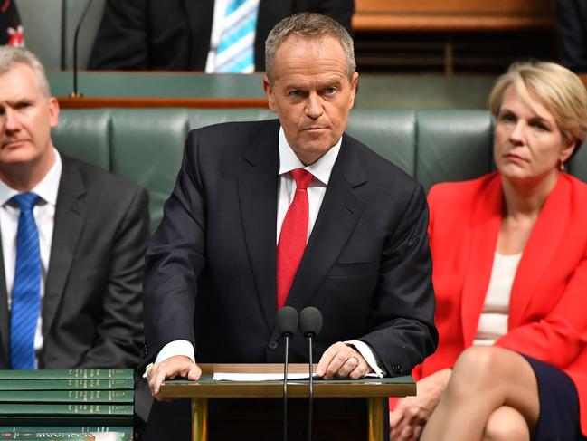 Bill Shorten delivers the 2019-20 federal Budget reply speech. Picture: Mick Tsikas/AAP