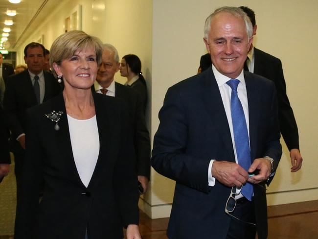 A successful Malcolm Turnbull leaves with Julie Bishop after winning the leadership ballot at Parliament House in Canberra tonight. Picture: Ray Strange