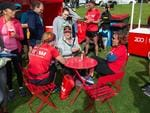 Runners recovering from their race at the Westpac Red Zone. Photographer: Nelson Da Silva