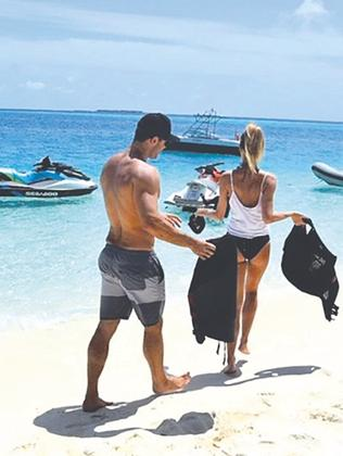 Jennifer Hawkins and Jake Wall on one of their holidays.