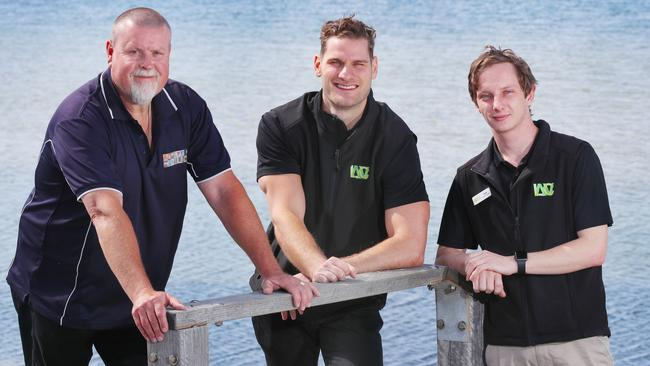Lifeguards Robin Sadler, Jayk Burgess and Luke Vesnaver helped to save Trevor Mildenhall's life. Picture: David Crosling