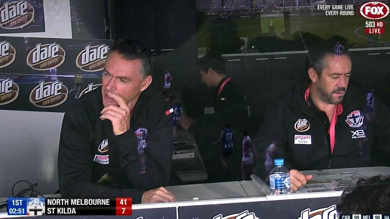 Alan Richardson (left) and Simon Lethlean (right) in the box at Blundstone Arena.