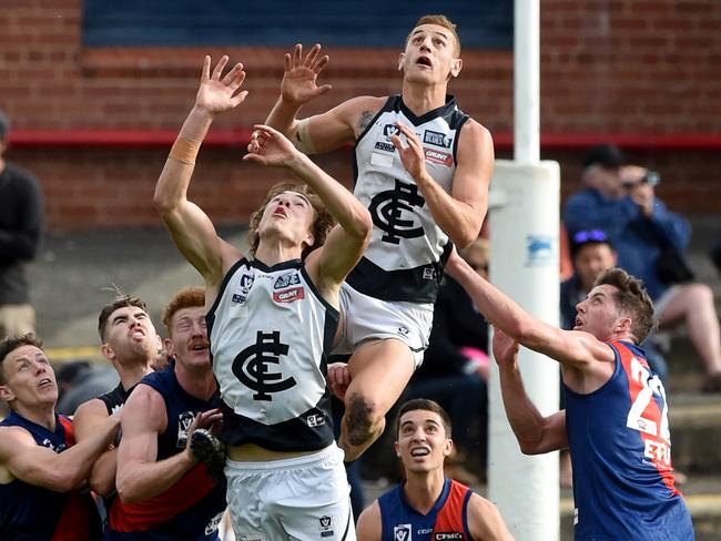 Jones flies for a mark in the VFL. Picture: Kylie Else.