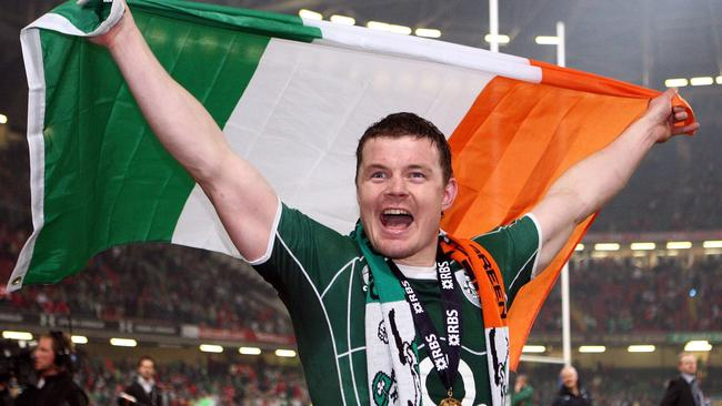 Irish star Brian O'Driscoll celebrates victory at the Millennium Stadium in Cardiff.