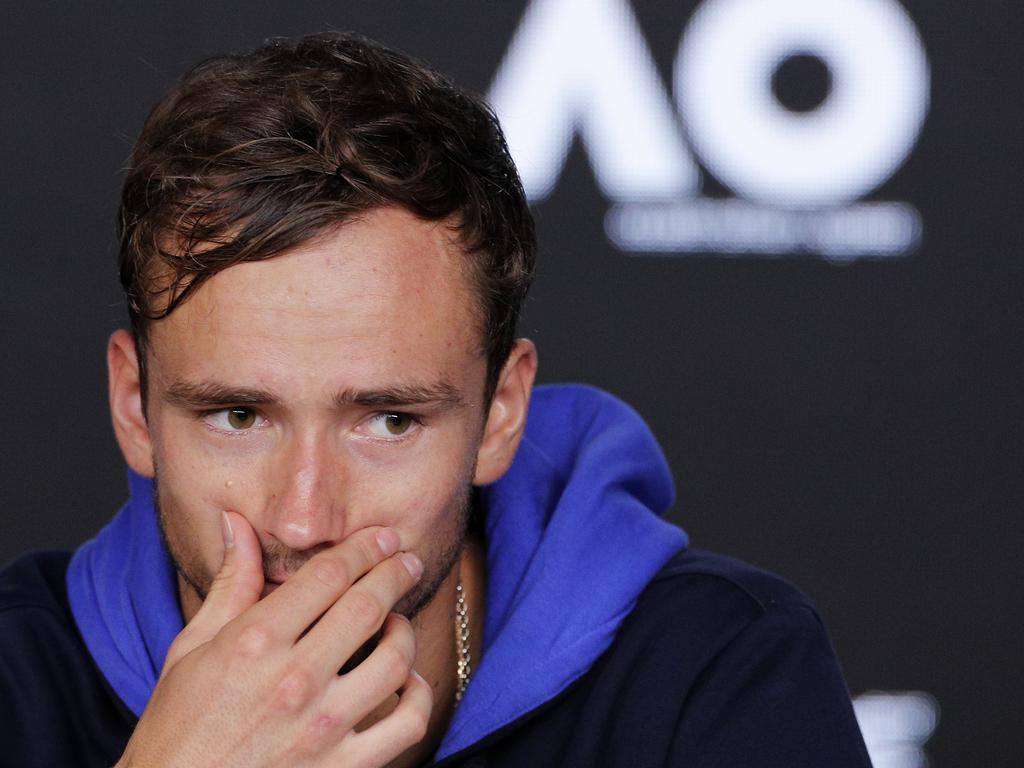 Russia's Daniil Medvedev reacts during a press conference ahead of the Australian Open tennis championship in Melbourne, Australia, Saturday, Jan. 18, 2020. (AP Photo/Andy Wong)