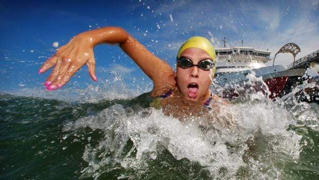 Chloe McCardel preparing for her big swim from Williamstown to Port Melbourne on Sunday the 24th Feb.