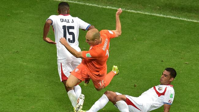 Netherlands' forward Arjen Robben in the air again.
