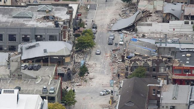 Damaged buildings in central Christchurch. Picture: Mark Mitchell, New Zealand Herald