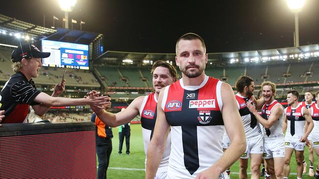 Daniel McKenzie will replace Jarryn Geary in St Kilda's team. Picture: Michael Dodge/Getty Images.