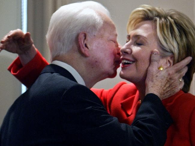 Clinton and Byrd pictured embracing in 2004. Picture: AP Photo/Bebeto Matthews