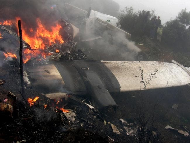 The wreckage of a plane.
