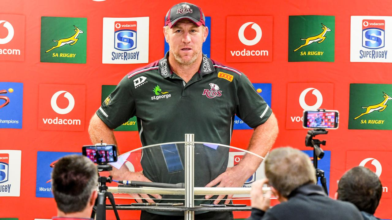 Brad Thorn faces the media after the loss to the Lions at Ellis Park.
